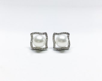 Blest Jewellery- Pearl Earring - AAA 8-9 MM White Color Freshwater Pearl Earrings, Cubic Zirconia With 925 Silver