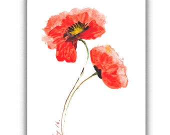 Red poppy flower, Original acrylic color on paper, Floral art, Small painting, Gift, Home decorate, Room decorate, size 16.7 x 21 cm.