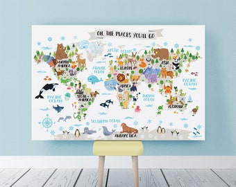 World map poster etsy printable nursery animal world map for kids room decor animal wall map world map nursery map gumiabroncs Image collections