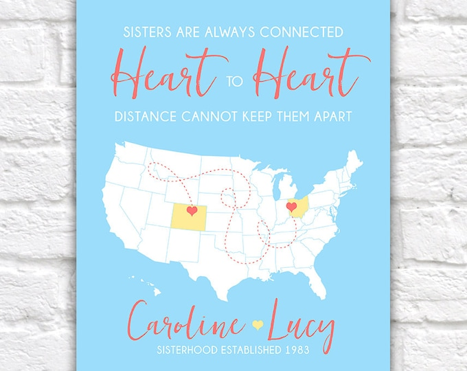 Featured listing image: Birthday Gift for Sister, Best Friend Gift -  Art Print, Long Distance Friendship, Relationship, You Choose - Heart, Dotted Line | WF330