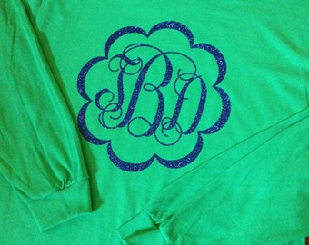 Vinyl Monogrammed Shirt, Adult Long Sleeve