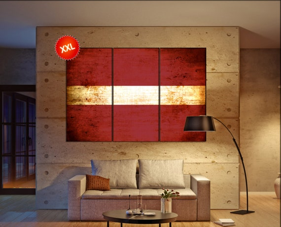 Latvia flag canvas wall art art print large  canvas wall art print Latvia flag country flag Wall Home office decor interior Office Decor