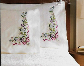 PILLOWCASES, BLUE and VIOLET Bouquet to embroider by Bucilla, two pillowcases.