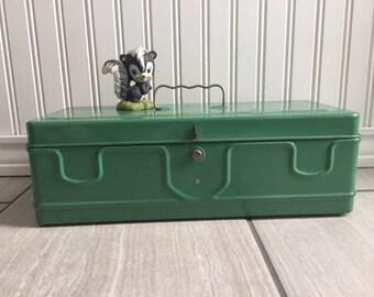 Vintage Green Tackle Box, Metal Box, Art Supply Box, Cash Box, Tackle Box, Industrial Decor, Metal Tackle Box, Industrial Chic, Green Decor
