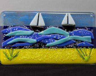 Fused Glass Sailing Boat , Sea & Sand Hanging Panel