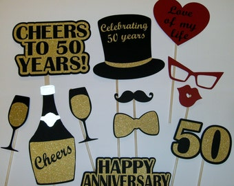 50th Anniversary Photo Prop / Golden Anniversary  / Cheers / Champagne / Love / 50th  (2172D)
