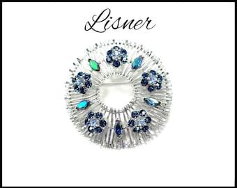 LISNER Blue Green Aurora Borealis Rhinestone Brooch, Royal Blue Flowers, Atomic Design, Light Blue Brooch, Mothers Day Gift For Her