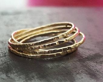 14k Gold Russian Ring, Interlocking Ring, Stacking Ring, Anniversary Ring, Wedding Ring, Gold Jewelry, Handmade