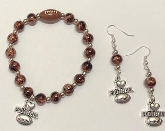 Jewelry Set. Stretch Bracelet. Bead Bracelet. Beaded Bracelet. Earrings. Bead Earrings. Beaded Earrings. Football. Football Jewelry.