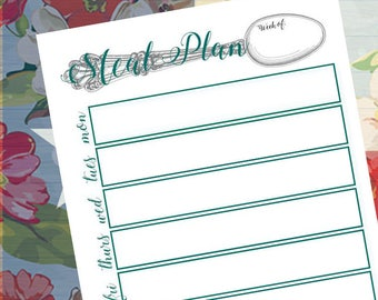 Weekly Meal Planner, Meal Planning Printable, Menu Planner Printable, INSTANT DOWNLOAD