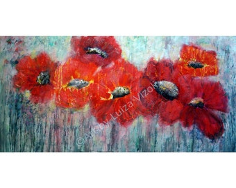 ORIGINAL Large Painting Abstract Modern Red White Poppies Art on Canvas by Luiza Vizoli
