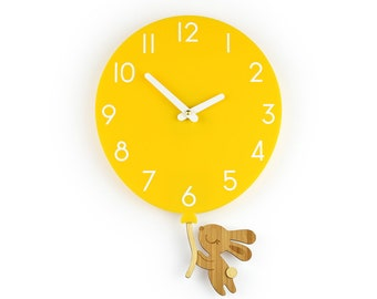 Bunny & Yellow Balloon - Yellow Balloon Wall Clock - Children's Room Decor - Nursery Decor - Baby Shower Gift - Simple Wall Clock