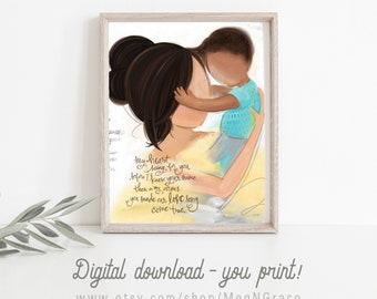 INSTANT DOWNLOAD Adoption Gift - Dark Brunette Mother and Son with Dark Complexion Wall Art Print for Adoption Gift, Welcome Home Child