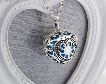 Harmony Cage GEORGIA with Blue Bola Ball Pendant & Necklace - Pregnancy Maternity Mexican Angel Caller Mum to Be