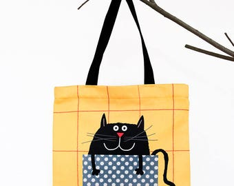 Large Tote Bag for Cat Lovers, Crazy Cat Lady, Gift for Her, Tote Bags, Canvas Totes For Women, Shopper Bag, Grocery Bag, With Pocket, Funny