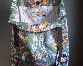 Vintage floral barkcloth fabric tote bag - green/gold/grey