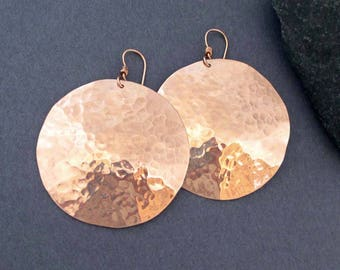 Large Hammered Bronze Disc Earrings with 14k Pink Gold Filled Ear Wires Textured Distressed Metal Dangles Modern Boho Chic Tribal Earrings