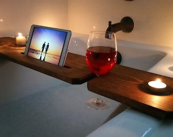 Bathtub Tray  Stained / Sliver Woodworking / Bathroom Accessories / Candle  Holder / Wooden Phone