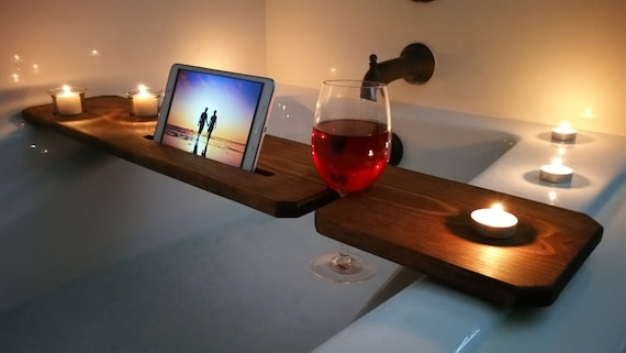 Bath Tub Tray Stained / Sliver woodworking / Bathroom