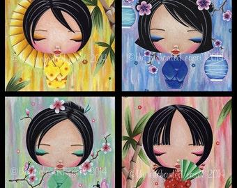 Girls Art Prints, Kokeshi Dolls, Girls Wall Art, Asian, Girls Room, Square, Set of 4 Prints, Kawaii, Girls Room, Nursery Art, Flowers