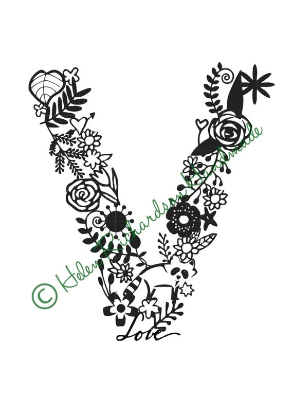 Floral Alphabet letter V paper cutting template for