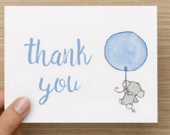 Baby Boy thank you card:Personally designed watercolor baby elephant with balloon shower thank you card