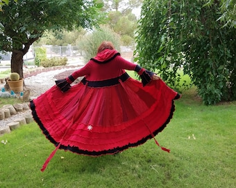 Sweater coat upcycled sweatercoat duster long red black elf hoodie fairy reconstructed