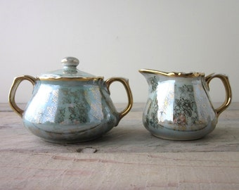 Vintage Lusterware China Creamer and Sugar Set Mid Century Aqua with Gold Flowers