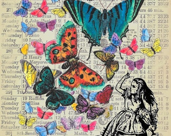 Alice in Wonderland Butterflies Vintage Image print on print of old ledger paper vintage print wall hanging decoration gift AIW5442