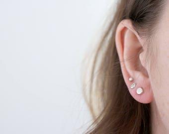 Pebble earrings. Sterling silver pebble stud earrings. Pebble studs, silver studs, full moon, moon earrings, dot studs, silver pebble.