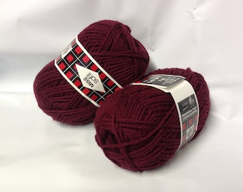 wool - pincushions: set of 10 balls pure wool / bordeaux / made in FRANCE
