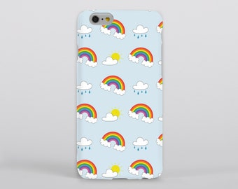 Rainbow Phone Case iPhone Samsung Gloss Matte Tough Flip Slip Sunshine Rain Cloud Pattern