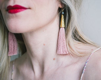 Tassel Earrings, Boho Jewelry, Rose Quartz Color, Extra Long, Ethnic Chic, Faceted Pearls, pastel pink silk tassels