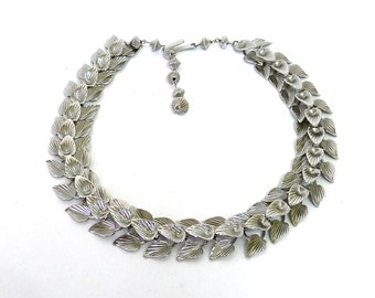 Vintage  Cascade Leaves Silver Necklace Gift for her
