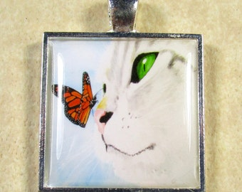 Cat and Butterfly Pendant, Cat Necklace, Cat Pendant, Cat Jewelry, Cat Gifts, Cat Mom Gifts, Cat Lover Gifts, Gifts for Cat Lover