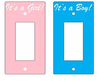 Its a Boy, Its a Girl Light Switch Cover Plate, acrylic Modern style, FREE SHIPPING