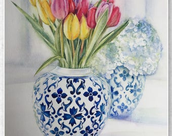 Original Tulips and Hydrangeas  Watercolour Painting Artwork by Anna G. Flowers and Blue Vases Still life