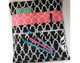 planner pouch, planner bag, planner cover, planner case, sized to fit Happy Planner, Erin Condren, Plum Paper cover, front vinyl zipper case
