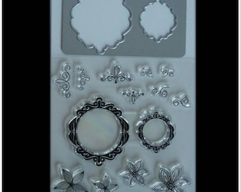 stamp clear arabesques and flowers and die-cut round baroque frame