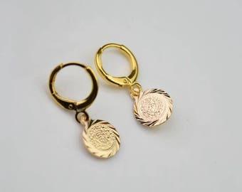 round coin hoop earring gold disc hoops endless hoop huggie dangle earring simple earrings everyday/gift for her