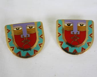 Tribal Cloisonne Earrings / Laurel Burch Earrings / Cloisonne Face Earrings / 1980s Ethnic Earrings / Cloisonne Pierced Earrings