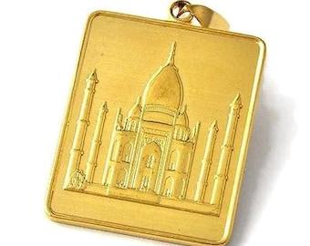 The Noble Qur'an Surah Luqman [31:30] - Al-Qur'an al-Kareem - القرآن الكريم Large Masjid Mosque Gold Tone Pendant