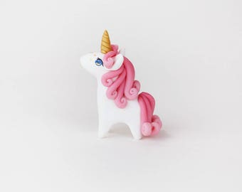 Handmade Beautiful Pink Maned Unicorn Figure with Gold Heart Freckles