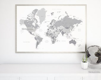 Grayscale world map etsy boyfriend gift large map 60x40 printable world map with capitals cities gumiabroncs Gallery