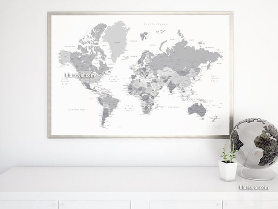 Boyfriend gift large map 60x40 printable world map boyfriend gift large map 60x40 printable world map with capitals cities map for diy travel pinboard grayscale map map141 051 gumiabroncs Image collections