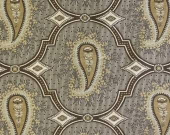Paisley Fabric - Blue/Brown - Upholstery Fabric by the Yard
