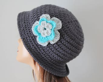 Crocheted Hat Charcoal Gray Cloche Hat
