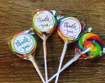 Thank you wedding favour swirl lollipop in foil