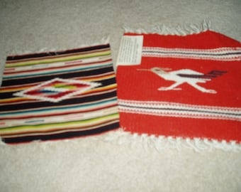 Two Vintage American Folk Art Woven Wool Mats