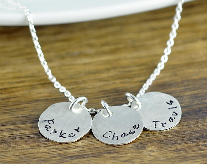 Custom Initials Necklace, Dainty Custom Hand Stamped Disc Personalized,  Mother Necklace , Family, Kids Multi-Tag Disk Necklace
